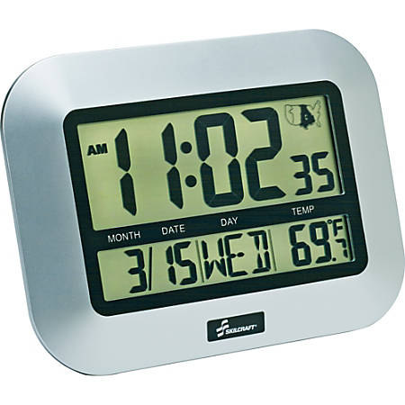 SKILCRAFT® LCD Digital Display Clock, Silver