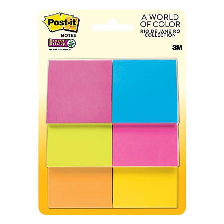 "Post-it® Super Sticky Notes, 2"" x 2"", Rio de Janeiro, Pack Of 6 Pads"