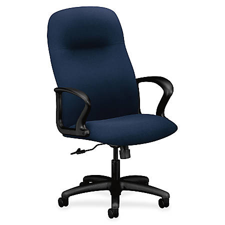 "HON Gamut Executive High-Back Chair - Polyester Navy Seat - Polyester Navy Back - Black Frame - 5-star Base - 20"" Seat Width x 17"" Seat Depth - 27.5"" Width x 36.3"" Depth x 46"" Height"