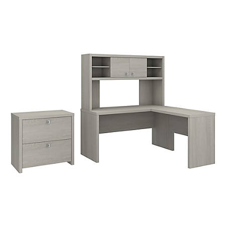 kathy ireland® Office by Bush Business Furniture Echo L Shaped Desk With Hutch And Lateral File Cabinet, Gray Sand, Premium Installation