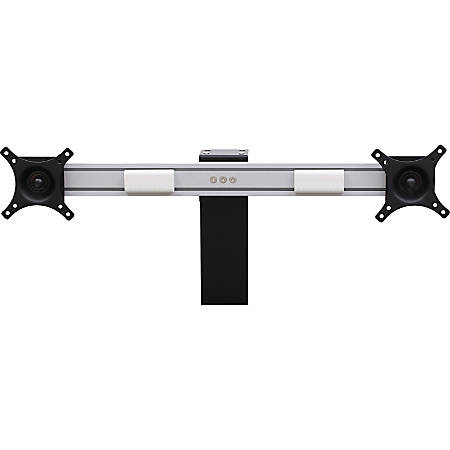 Lorell® Dual-Monitor Bracket, For Electric Sit-To-Stand Desk Riser, Silver