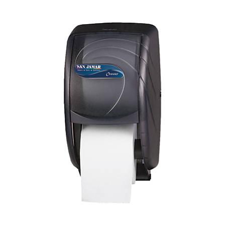 "San Jamar Duett Toilet Tissue Dispenser, 12 3/4""H x 7 1/2""W x 7""D, Black Pearl"