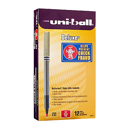 uni-ball® Deluxe Rollerball Pens, Micro Point, 0.5 mm, Charcoal Barrel, Red Ink, Pack Of 12