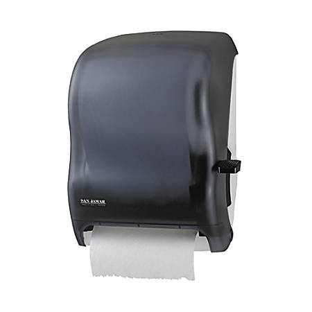 "San Jamar Lever-action Jam-resistant Towel Dispenser - Roll Dispenser - x Roll - 16.5"" Height x 12.9"" Width x 9.5"" Depth - Plastic - Black Pearl - Durable, Long Lasting, Break Resistant, Lockable, Chemical Resistant, Jam Resistant"