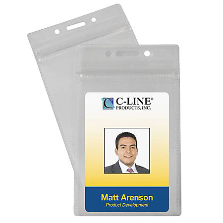 """C-Line® Zippered Badge Holders, 3 7/8"""" x 2 5/8"""", Clear, Vertical, Pack Of 50"""