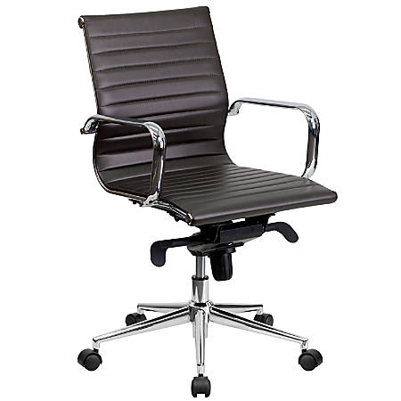 Flash Furniture Ribbed Upholstered Leather Mid-Back Swivel Conference Chair, Brown/Silver