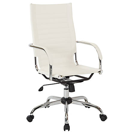 Work Smart™ Ave Six Trinidad Vinyl High-Back Office Chair, White/Chrome