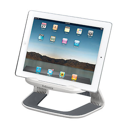 "Fellowes® I-Spire Series™ Tablet Lift, 4.63"" x 8.44"" x 5.44"", White/Gray"