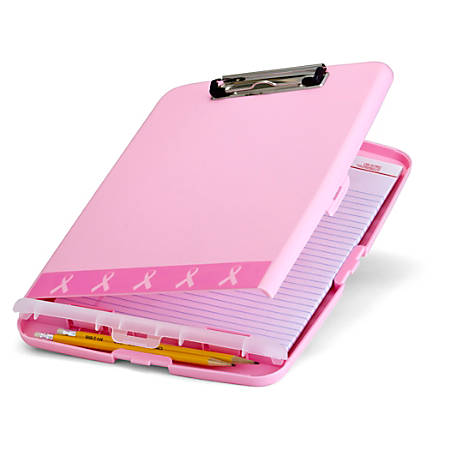 "Breast Cancer Awareness BCA Slim Clipboard Storage Box - 11"" - Pink - 1 Each"
