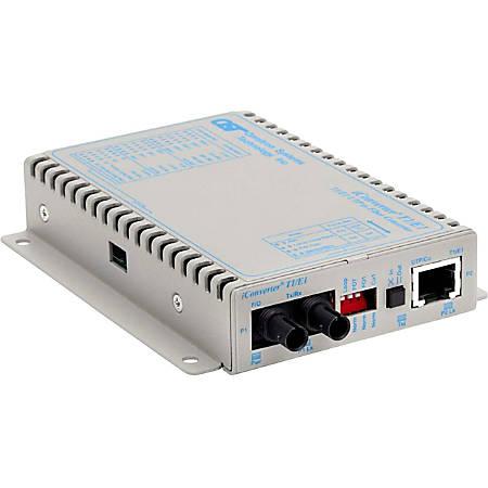 iConverter T1/E1 Fiber Media Converter RJ48 ST Single-Mode 30km - 1 x T1/E1; 1 x ST Single-Mode; Wall-Mount Standalone; US AC Powered; Lifetime Warranty