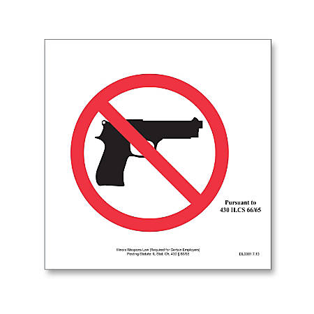 """ComplyRight State Weapons Law Poster, English, Illinois, 6"""" x 5"""""""