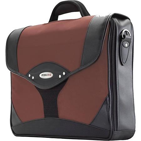 Mobile Edge Select Briefcase - Top-loading - Shoulder Strap, Handle - Leather - Red, Black