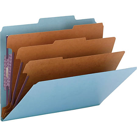 """Smead® Classification Folders, Top-Tab With SafeSHIELD® Coated Fasteners, 3 Dividers, 3"""" Expansion, Letter Size, 50% Recycled, Blue, Box Of 10"""