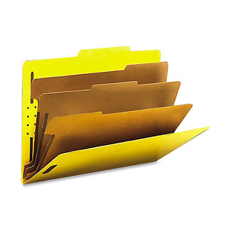 "Smead® Classification Folders, Top-Tab With SafeSHIELD® Coated Fasteners, 3 Dividers, 3"" Expansion, Letter Size, 50% Recycled, Yellow, Box Of 10"