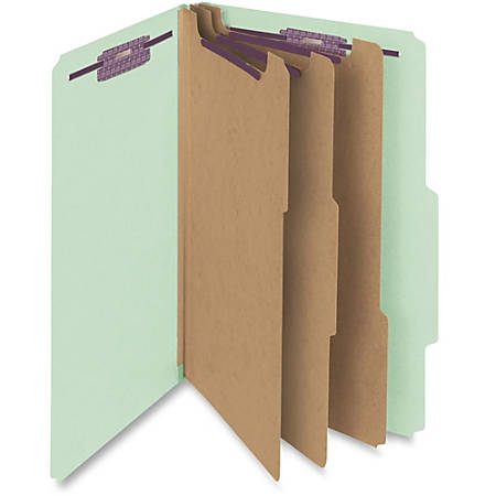 "Smead® Classification Folders, With SafeSHIELD® Coated Fasteners, 3 Dividers, 3"" Expansion, Legal Size, 60% Recycled, Gray/Green, Box Of 10"