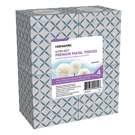 Highmark® 2-Ply Facial Tissue, Cube Box, White, 86 Tissues Per Box, Case Of 24 Boxes