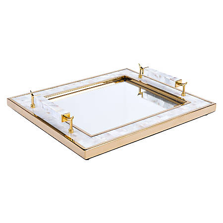 Zuo Modern Tray With Horn Handle, Gold/White