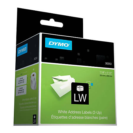 """DYMO® Address Labels, DYM30253, 1 1/8""""W x 3 1/2""""L, Direct Thermal, White, Roll Of 700"""