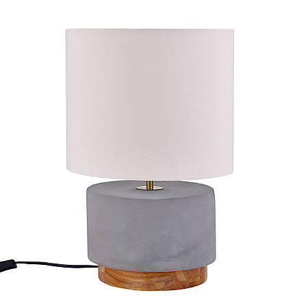 "Southern Enterprises Cambry LED Table Lamp, 18""H, White Shade/Natural And Gray Base"