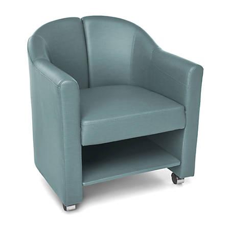 OFM Contour Series Mobile Club Chair, Aqua/Chrome