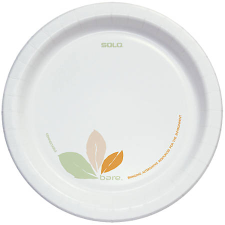 """Solo® Bare™ Heavyweight Paper Plates Perfect Pak™, 8 1/2"""", Case Of 250"""