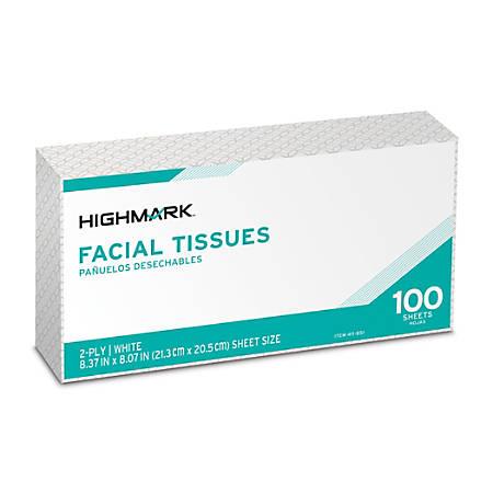 Highmark® 2-Ply Facial Tissue, Flat Box, White, 100 Tissues Per Box, Case Of 30 Boxes