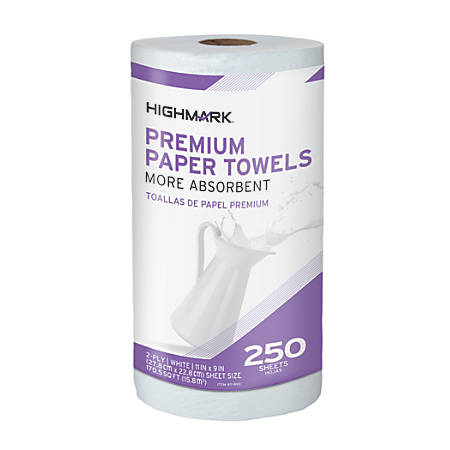 "Highmark® 2-Ply Kitchen Roll Towels, 11"" x 9"", White, 250 Sheets Per Roll, Pack Of 12 Rolls"
