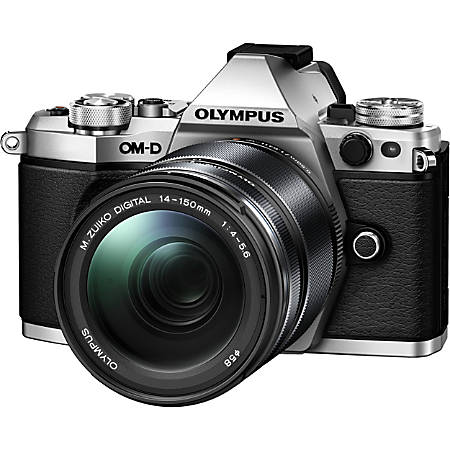 """Olympus OM-D E-M5 Mark II 16.1 Megapixel Mirrorless Camera with Lens - 14 mm - 150 mm - Silver - 3"""" Touchscreen OLED - 10.7x Optical Zoom - Optical (IS) - 4608 x 3456 Image - 1920 x 1080 Video - HD Movie Mode - Wireless LAN"""