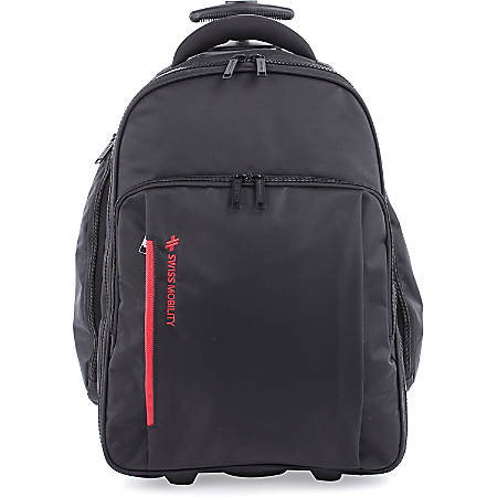 """Swiss Mobility Carrying Case (Rolling Backpack) for 15.6"""" Notebook - Black - Bump Resistant Interior, Scratch Resistant Interior - Telescoping Handle, Shoulder Strap - 21"""" Height x 10"""" Width x 15"""" Depth"""