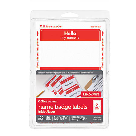 "Office Depot® Brand Hello Name Badge Labels, 2 11/32"" x 3 3/8"", Red Border, Pack Of 100"