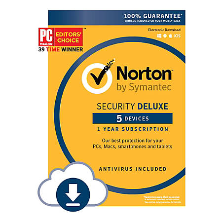 Norton™ Security Deluxe, For 5 Devices, 1-Year Subscription, Download Version