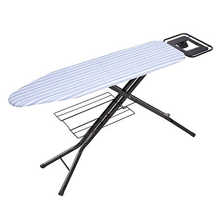 "Honey-Can-Do Quad-Leg Ironing Board With Iron Rest And Sweater Shelf, 39""H x 15""W x 15""D, Black/Blue"