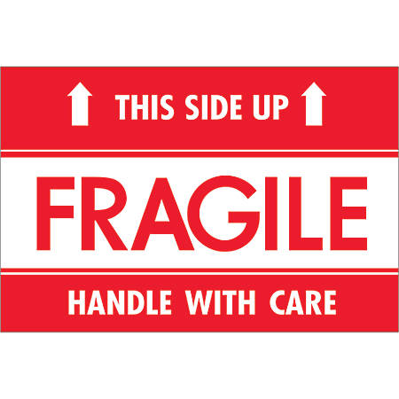 """Tape Logic® Preprinted Shipping Labels, DL2156, Fragile — This Side Up — HWC, Rectangle, 2"""" x 3"""", Red/White, Roll Of 500"""