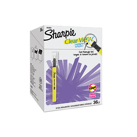 Sharpie® Clear View Highlighter Sticks, Chisel Tip, Assorted Fluorescent Colors, Pack Of 36