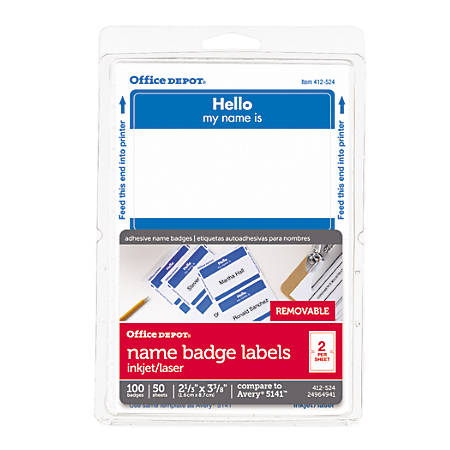 Office Depot® Brand Hello Name Badge Labels, 2 11/32