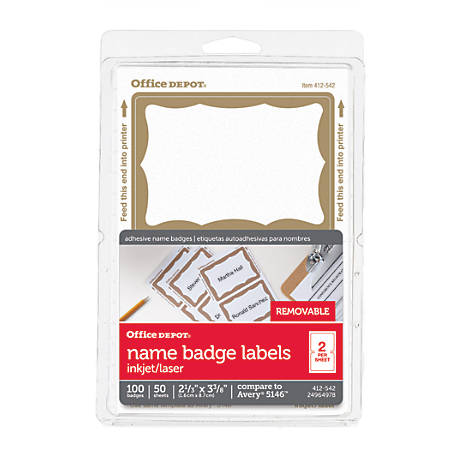 """Office Depot® Brand Name Badge Labels, 2 11/32"""" x 3 3/8"""", Gold Border, Pack Of 100"""