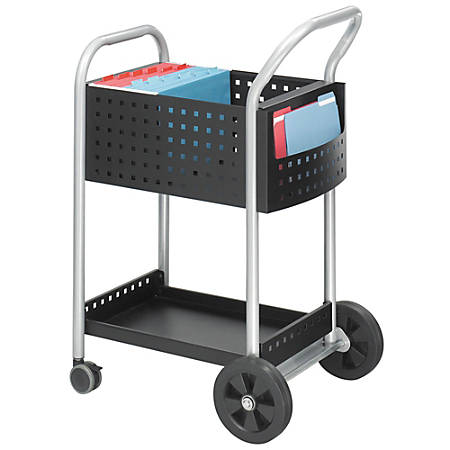 "Safco® Scoot™ Mail Cart, 40 1/2""H x 22""W x 27""D, Silver/Black"