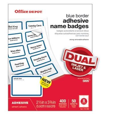 Office depot brand name badge labels 2 13 x 3 38 blue border pack of 400 by office depot officemax