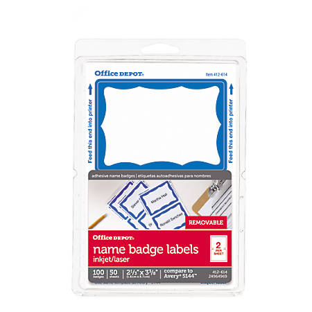"""Office Depot® Brand Name Badge Labels, 2 1/3"""" x 3 3/8"""", Blue, Pack Of 100"""