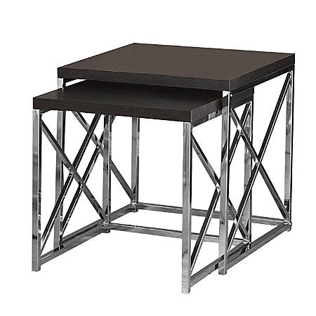 Monarch Specialties 2-Piece Nesting Table Set With Criss-Cross Legs, Square, Cappuccino/Silver