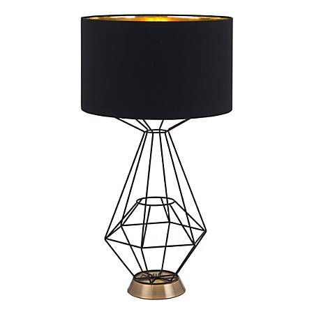 "Zuo Modern Delancey Table Lamp, 28""H, Black Shade/Black Base"
