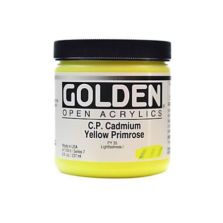 Golden OPEN Acrylic Paint, 8 Oz Jar, Cadmium Yellow Primrose (CP)