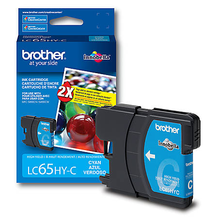 Brother Genuine LC65HY-C High-Yield Cyan Ink Cartridge, 1 Pack