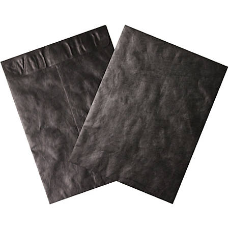 """Office Depot® Brand Tyvek® Envelopes, 12"""" x 15"""", Black, Pack Of 100"""