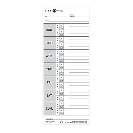 Pyramid™ Model 1000 30% Recycled Time Cards, Pack Of 100