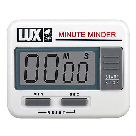 Lux Electronic Minute Minder Timer, White, Pack Of 2