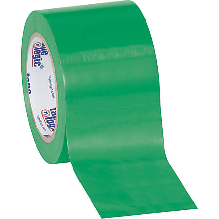 "BOX Packaging Solid Vinyl Safety Tape, 3"" Core, 3"" x 36 Yd., Green, Case Of 3"