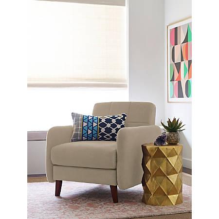 Elle Décor Natalie Mid-Century Modern Arm Chair, Beige/Chestnut