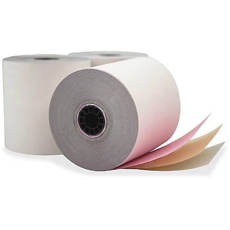 """PM Carbonless Paper, 3-Part, 3"""" x 70', White, Carton Of 3,500 Forms"""