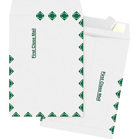 "Business Source DuPont Tyvek 1st Class Envelopes - Document - 12"" Width x 15 1/2"" Length - Peel & Seal - Tyvek - 100 / Box - White"